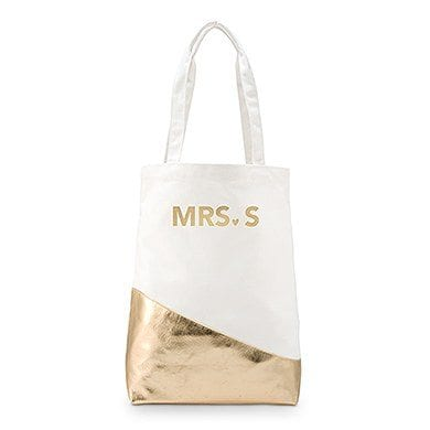 Large Canvas Tote Bag With Metallic Gold - Modern Foiling