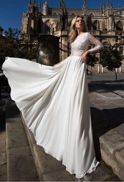 Chiffon a-line wedding dress