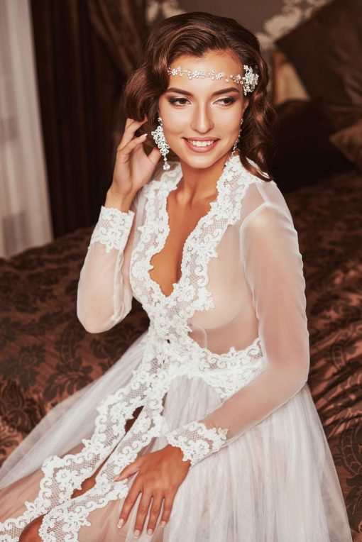 Tulle with lace trim robe