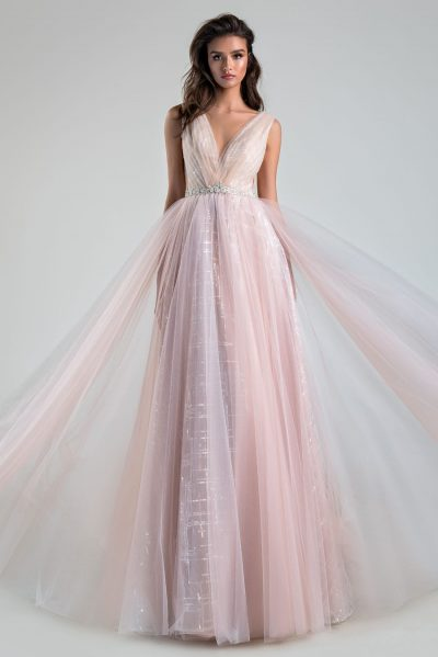 Multi color blush wedding dress