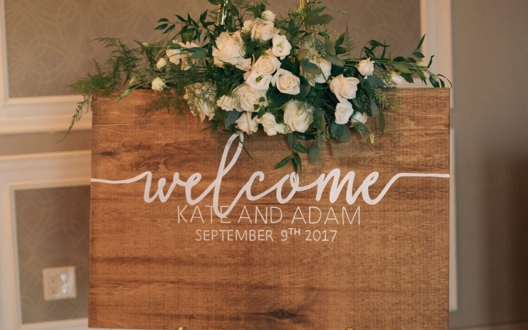 Welcome floral sign for reception