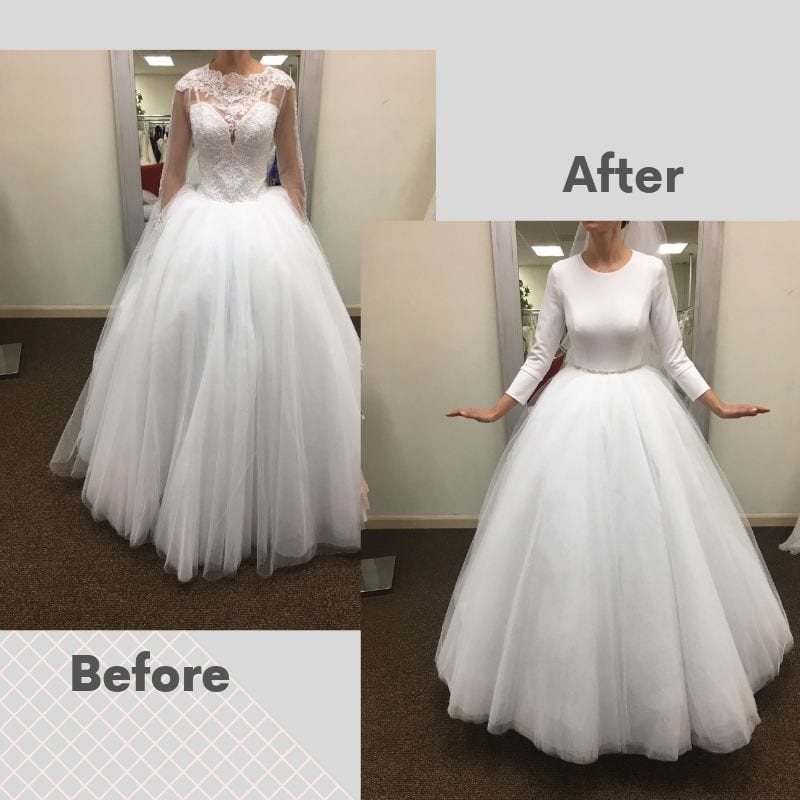 Wedding dress Alterations Before and after picture