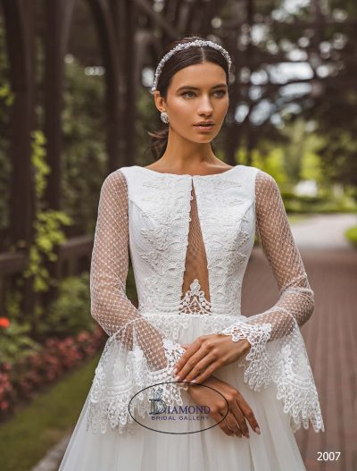 Low plunge neck line tulle long lace sleeves wedding dress a line