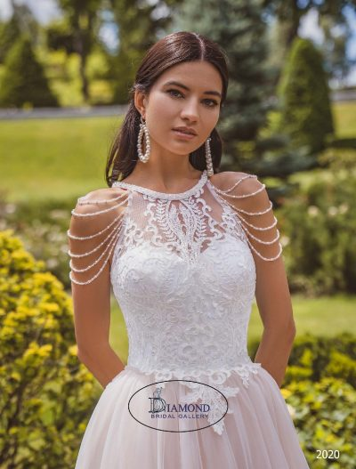 Hi neck line with beading and lace wedding dress