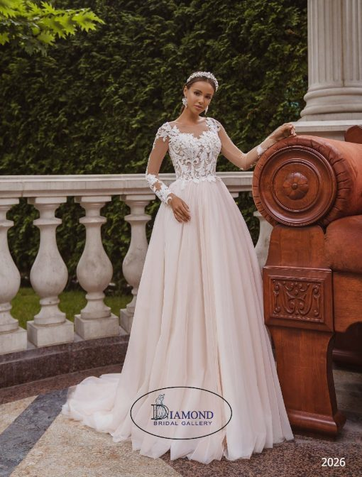 Lace long sleeves tulle wedding dress