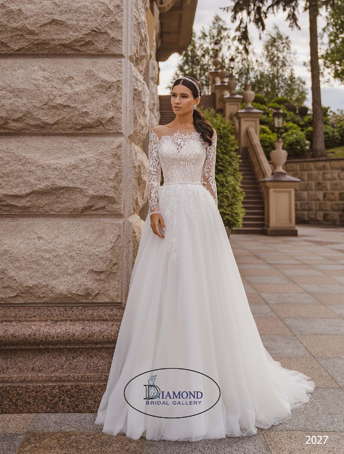 Tulle long sleeves wedding dress