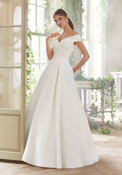 Aline ball gown wedding dress clean and simple elegant