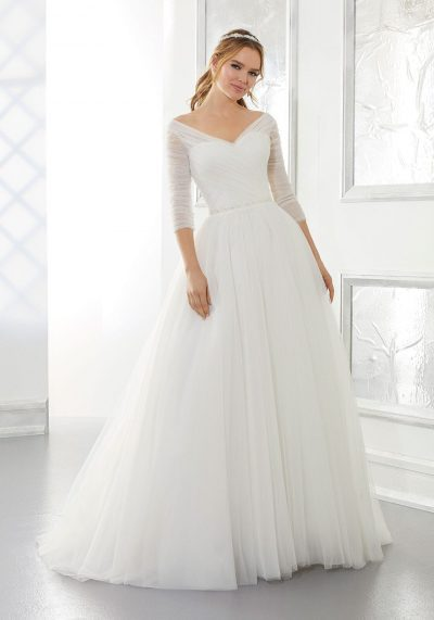 tulle sleeves wedding dress simple no lace and no beading