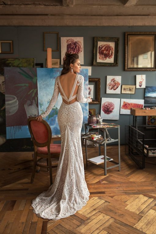 Chapel long wedding dress train with low sexy back
