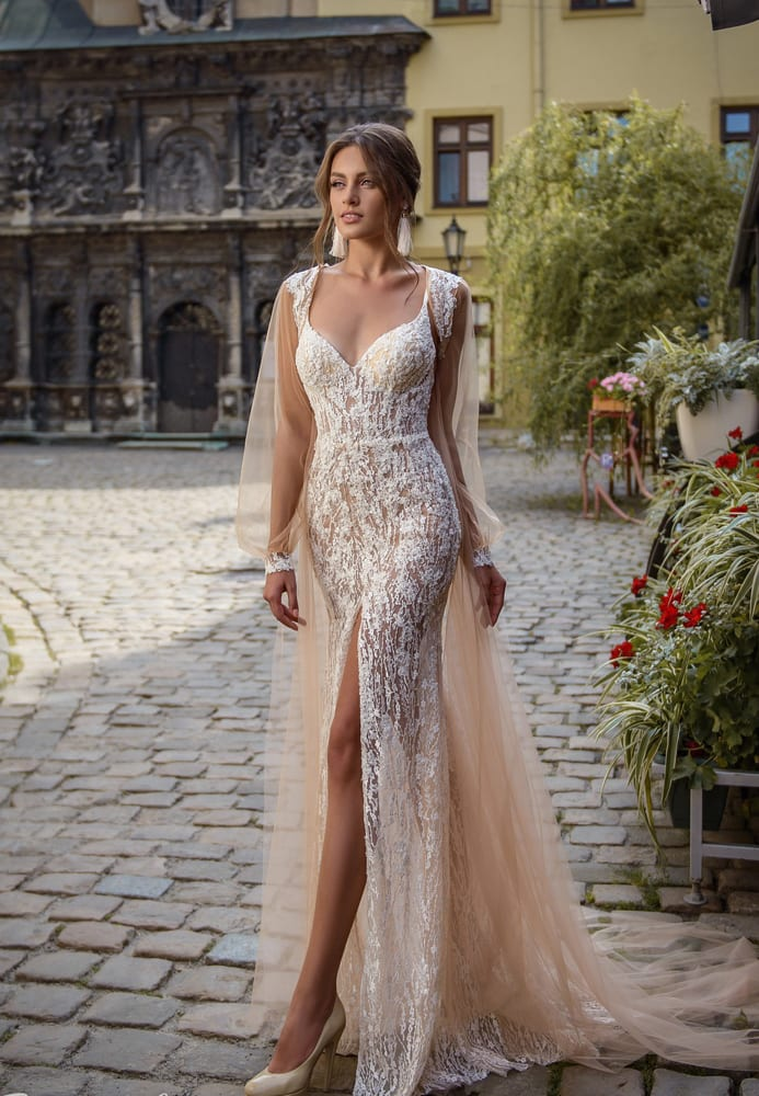 Trumpet nude lace wedding dress with cape