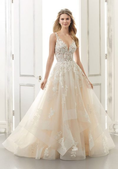 Tulle vneck line wedding dresses