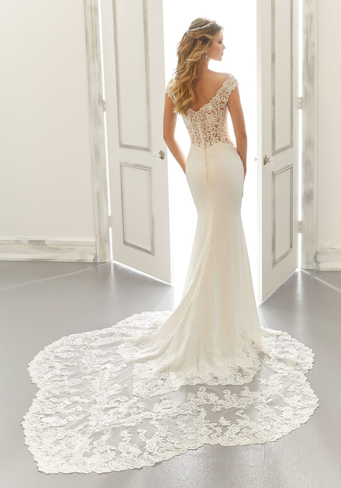 Long lace wedding dress train