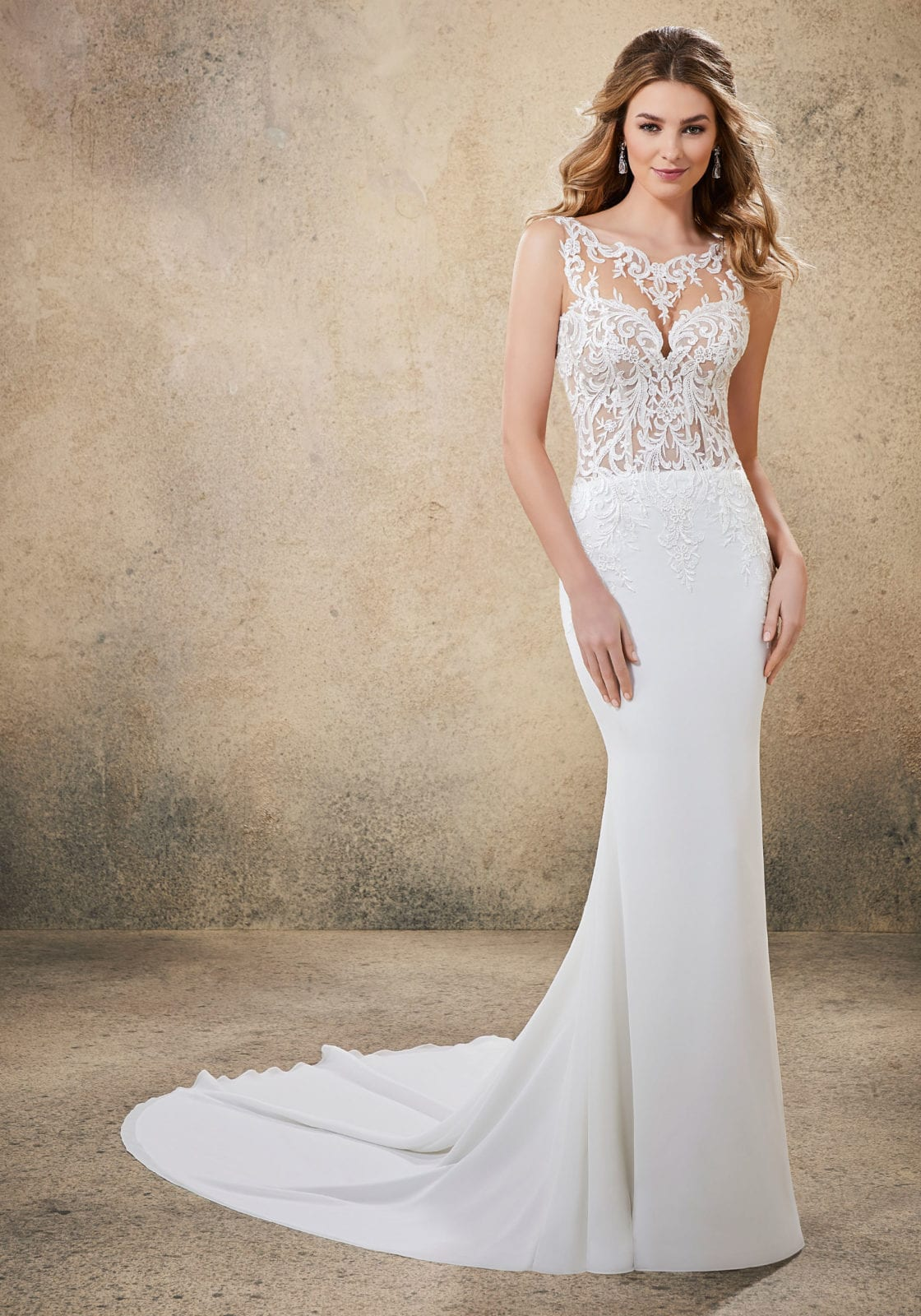Hight neck line wedding dress with simple skirt.