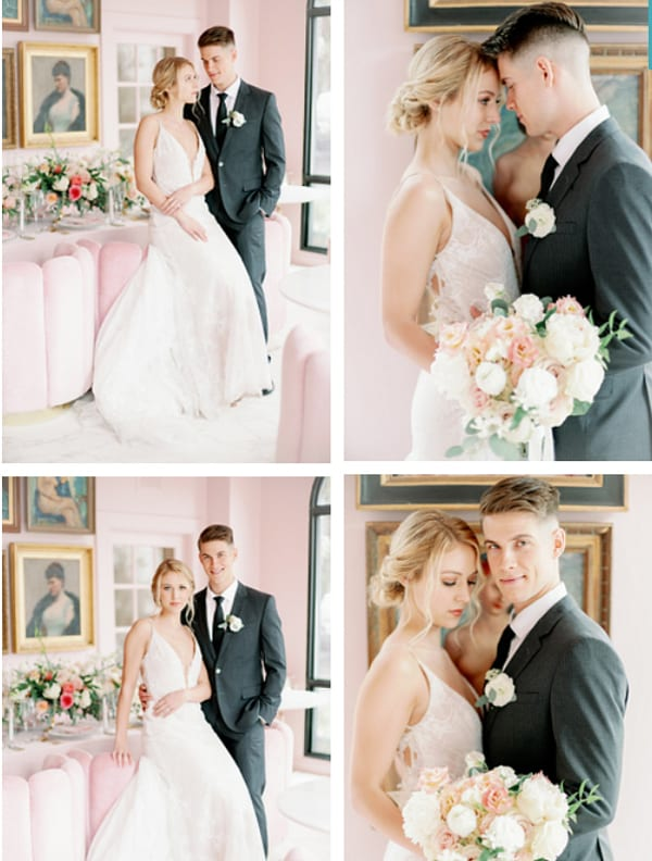 Groom helps his bride to get ready
