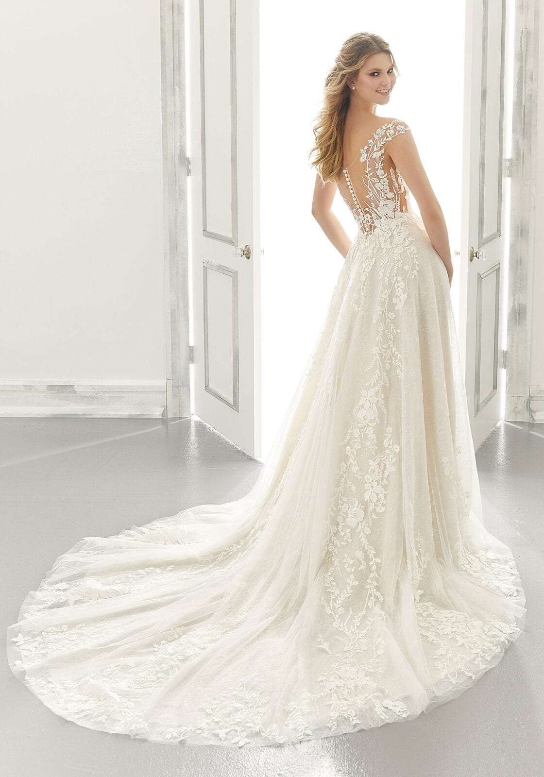 Long train with lace appliques wedding dress