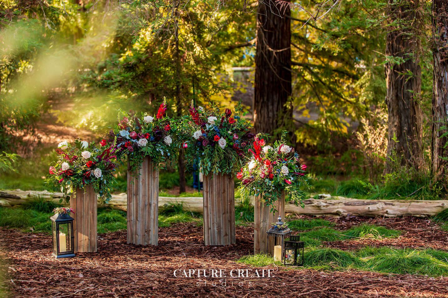 wedding arch made with flowers