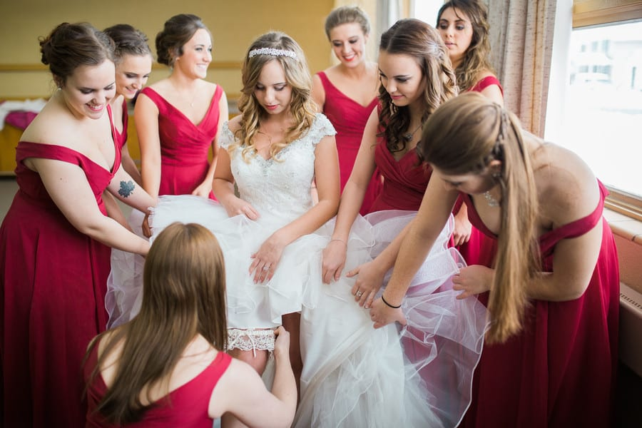 bridal party getting ready with bride