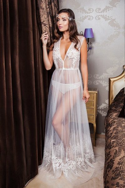 Lace long bridal tulle robe