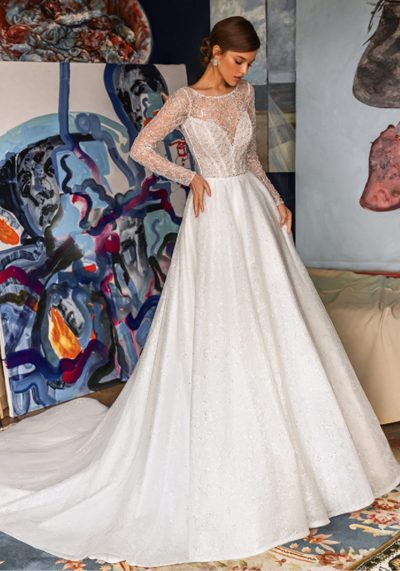 Long sleeves with spackles wedding dress and clean and satin skirt