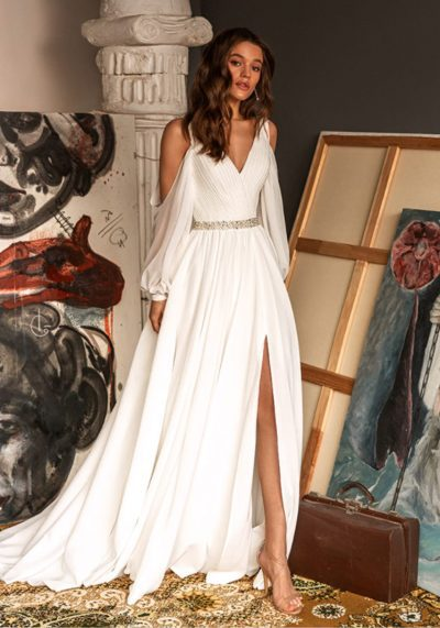 Chiffon long sleeves with off shoulder look an aline dress