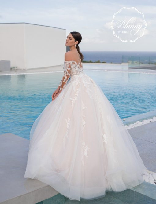 Beautiful back of the dress a line style