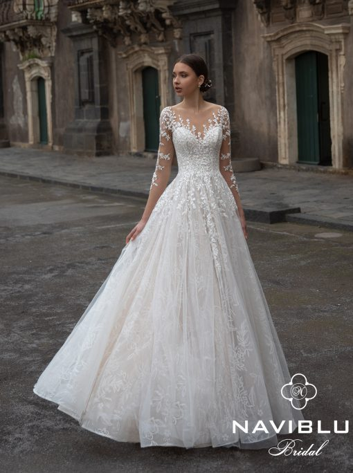 Aline wedding dress with mesh and long sleeves