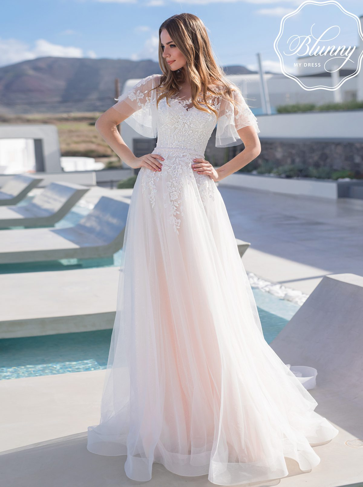 Unique sleeves tulle wedding dress