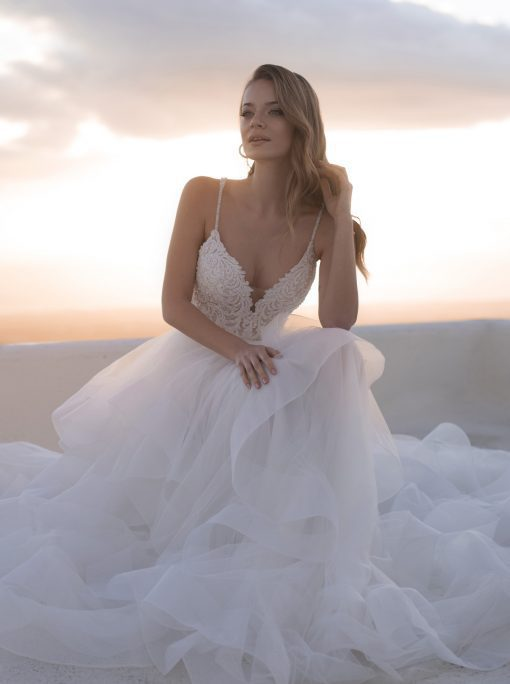 Ruffled skirt wedding dress with layers of tulle