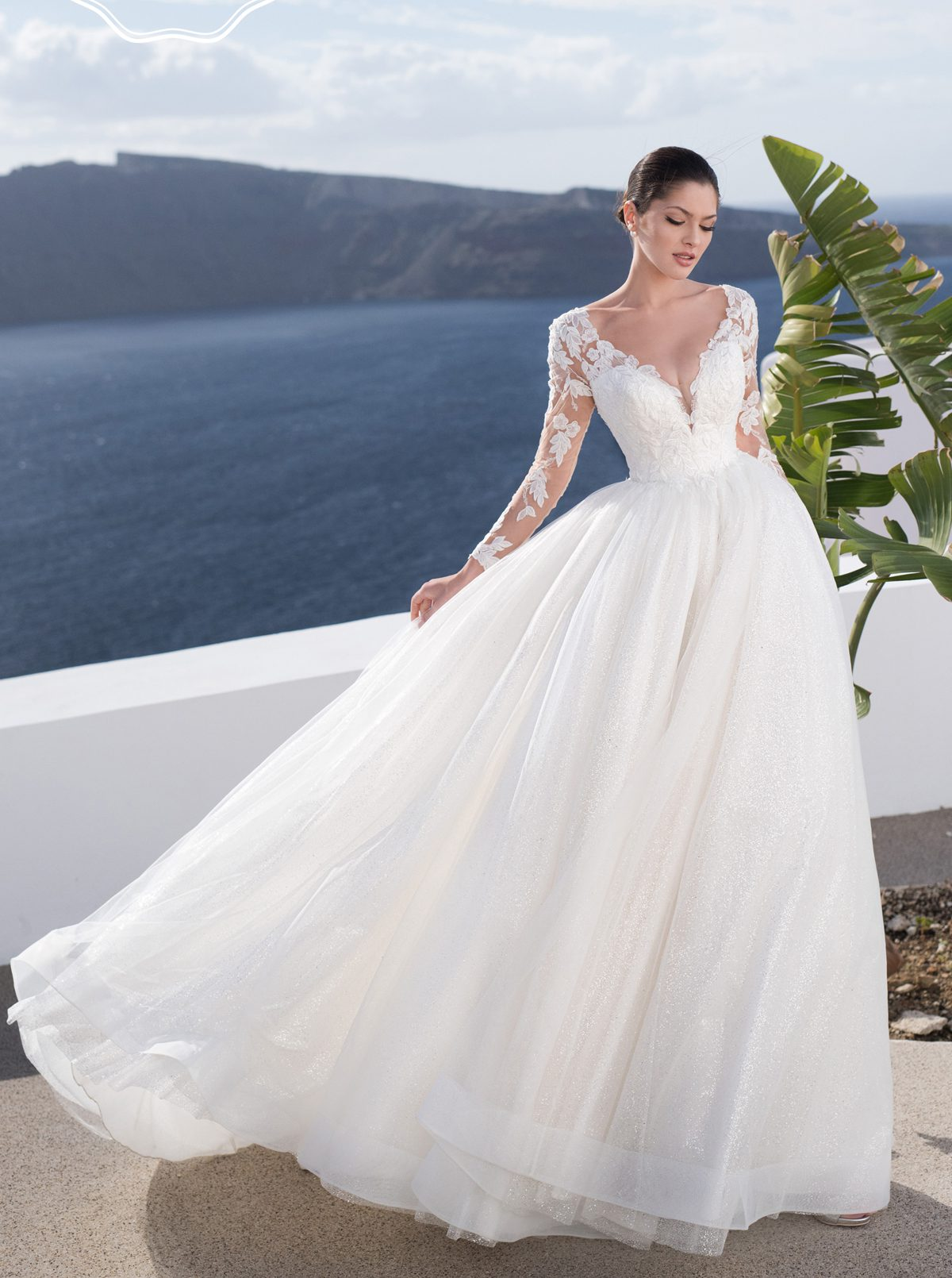 Aline ball gown wedding dress with sleeves