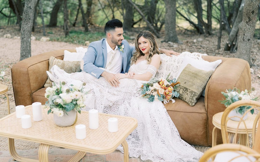 Vintage Boho Wedding Overlooking the Texas Hill country